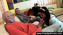 three dirty old man share teens mouth